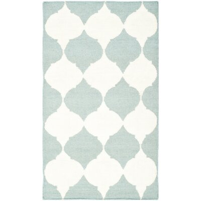Dhurries Blue/Ivory Area Rug Rug Size: 6 x 9