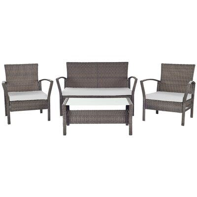 Avaron 4 Piece Deep Seating Group in Brown with Cushion Fabric: Grey