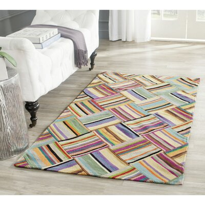 Straw Patch Hand-Woven Wool Pink/Blue Area Rug Rug Size: Rectangle 9 x 12