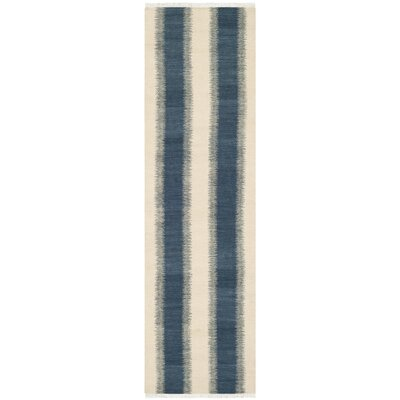 Brook Lane Blue & Ivory Area Rug Rug Size: Runner 23 x 6