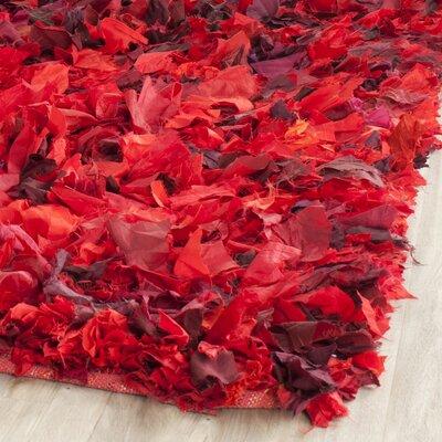 Red Shag Rug Rug Size: 5' x 8'