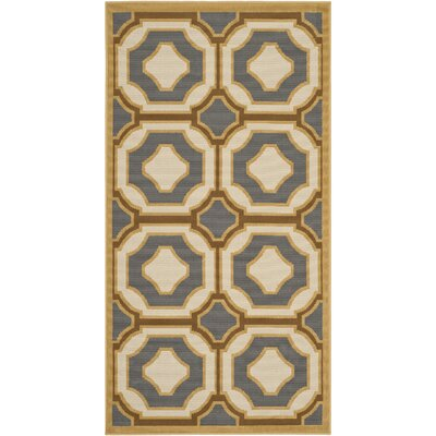 Hampton Dark Grey/Ivory Outdoor Area Rug Rug Size: 8 x 11