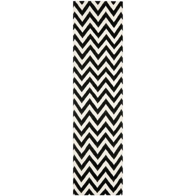 Dhurries Wool Black/Ivory Area Rug Rug Size: Runner 26 x 8