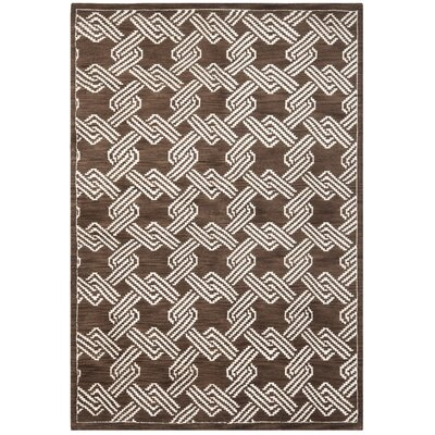 Mosaic Brown / Creme Geometric Rug Rug Size: Rectangle 4 x 6
