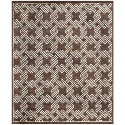 Mosaic Brown / Creme Geometric Rug Rug Size: Rectangle 9 x 12