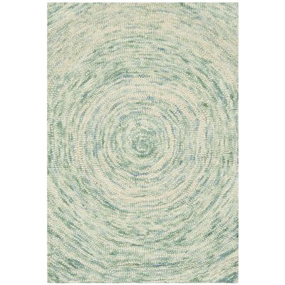 Ikat Ivory/Blue Area Rug Rug Size: Rectangle 6 x 9