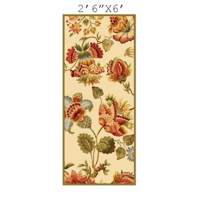 Kinchen Ivory/Red Area Rug Rug Size: Runner 26 x 6