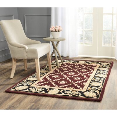 Naples Burgundy/Black Area Rug Rug Size: 26 x 46