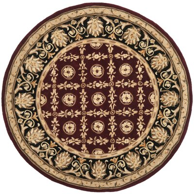 Naples Burgundy/Black Area Rug Rug Size: Round 8