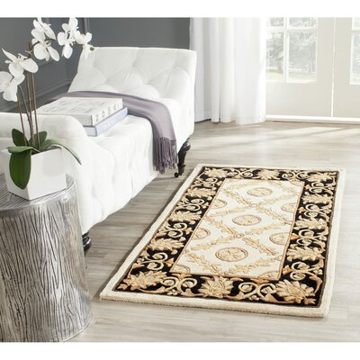 Naples Hand-Tufted Wool Ivory/Black Area Rug Rug Size: Runner 23 x 10