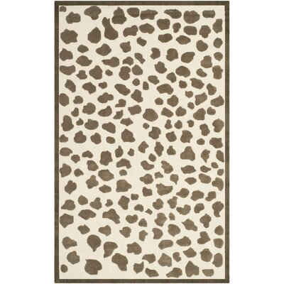 Claro Brown & White Area Rug Rug Size: 4 x 6