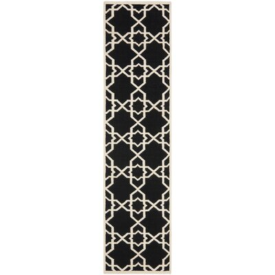 Dhurries Black Area Rug Rug Size: Runner 26 x 10