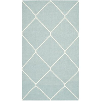 Dhurries Light Blue/Ivory Area Rug Rug Size: Rectangle 4 x 6