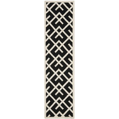 Dhurries Black/Beige Area Rug Rug Size: Runner 26 x 6