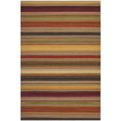 Striped Kilim Gold Rug Rug Size: 9 x 12