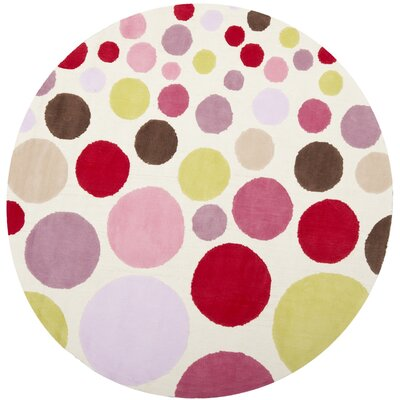 Kids Hand-Tufted Pink Area Rug Rug Size: Round 6'