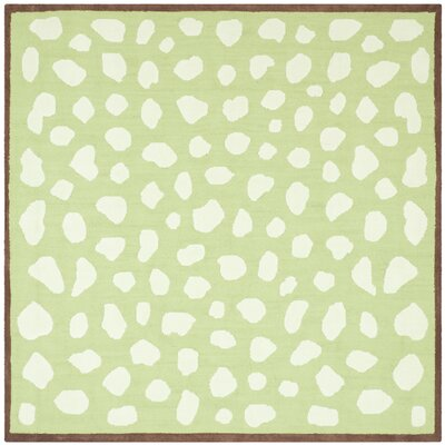 Claro Green & Ivory Area Rug Rug Size: Square 6