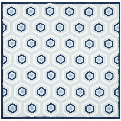 Claro Blue/Ivory Area Rug Rug Size: Square 6