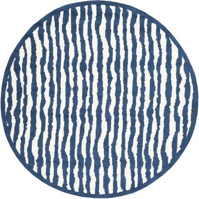 Claro Ivory/Blue Area Rug Rug Size: Round 6