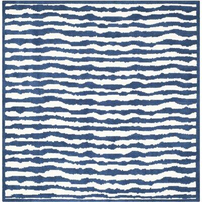 Claro Ivory/Blue Area Rug Rug Size: Square 6'