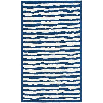 Claro Striped Ivory / Blue Rug Size: 3 x 5