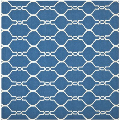 Dhurries Dark Blue Area Rug Rug Size: Square 6'