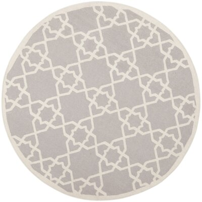 Dhurries Hand-Woven Wool Purple/Ivory Area Rug Rug Size: Round 8