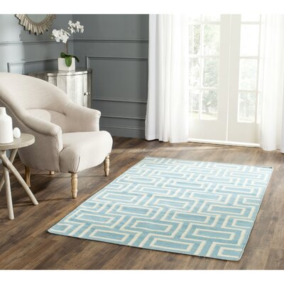 Dhurries Hand-Woven Wool Light Blue Area Rug Rug Size: Square 6