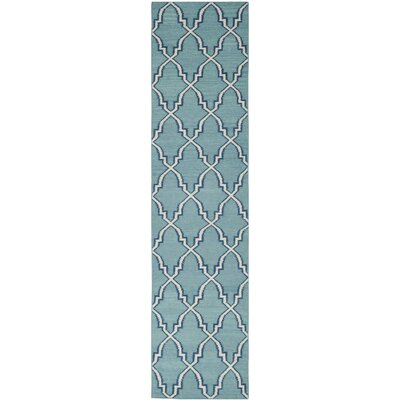 Dhurries Hand-Woven Wool Light Blue/Ivory Area Rug Rug Size: Runner 26 x 6