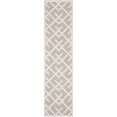 Dhurries Hand-Woven Wool Gray/Ivory Area Rug Rug Size: Runner 26 x 6