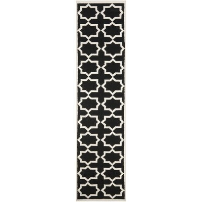 Dhurries Black Area Rug Rug Size: Runner 26 x 8