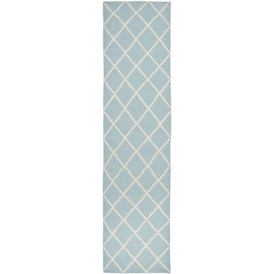 Dhurries Light Blue/Ivory Area Rug Rug Size: Runner 26 x 10