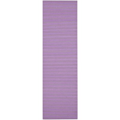 Dhurries Hand-Woven Purple Wool Area Rug Rug Size: Runner 26 x 8