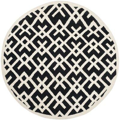 Safavieh Dhurries Black & Ivory Area Rug Rug Size: Round 6'