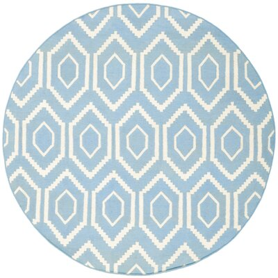 Dhurries Blue & Ivory Area Rug Rug Size: Round 6'