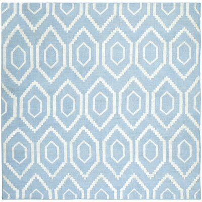Dhurries Blue & Ivory Area Rug Rug Size: Square 6'