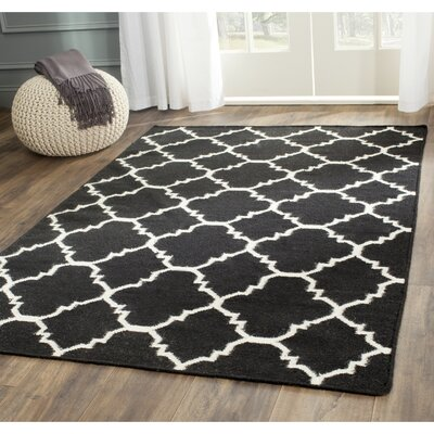 Dhurries Hand-Woven Wool Black/Ivory Area Rug Rug Size: Square 8