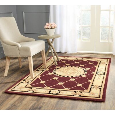 Naples Hand-Tufted Wool Burgundy/Ivory Area Rug Rug Size: Rectangle 8 x 11