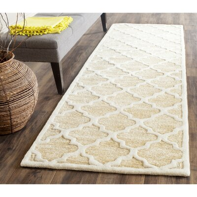 Precious Hand-Tufted Cotton Beige Area Rug Rug Size: Runner 26 x 8