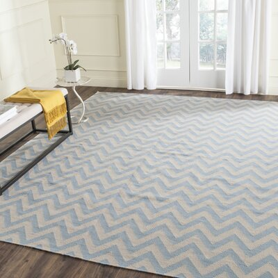 Dhurries Hand-Woven Wool Blue/Ivory Area Rug Rug Size: Rectangle 5 x 8