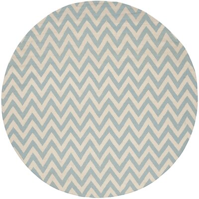 Dhurries Hand-Woven Wool Blue/Ivory Area Rug Rug Size: Round 6