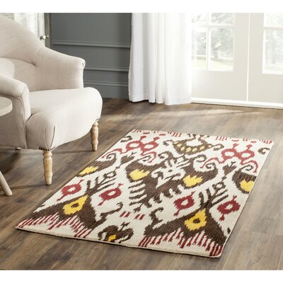 Ikat Hand-Woven Wool Beige/Brown Area Rug Rug Size: Rectangle 5 x 8