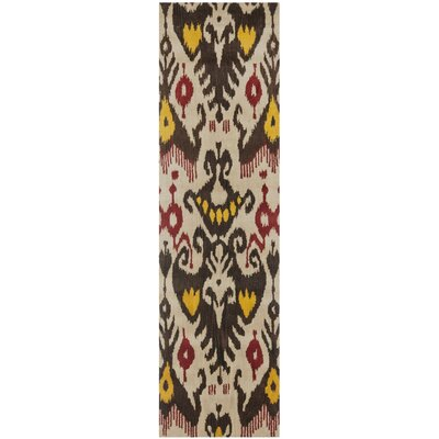 Ikat Hand-Woven Wool Beige/Brown Area Rug Rug Size: Runner 23 x 8