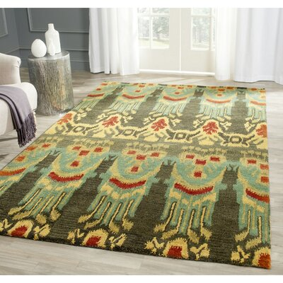 Ikat Hand Tufted Wool Olive/Gold Indoor/Outdoor Area Rug Rug Size: Square 6