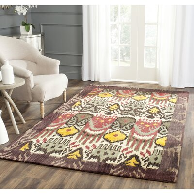 Ikat Hand-Woven Wool Creme/Brown Rug Rug Size: Rectangle 4 x 6