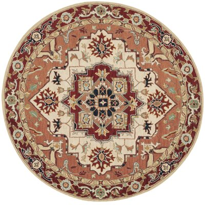 Chelsea Red / Ivory Outdoor Area Rug Rug Size: Round 8