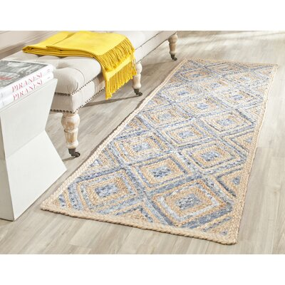 Cromwell Hand-Woven Natural/Blue Area Rug Rug Size: Runner 2'3