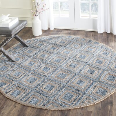 Cromwell Hand-Woven Natural/Blue Area Rug Rug Size: Round 6'