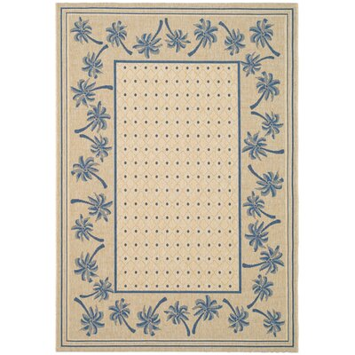 Courtyard Ivory/Blue Outdoor Rug Rug Size: 5'3