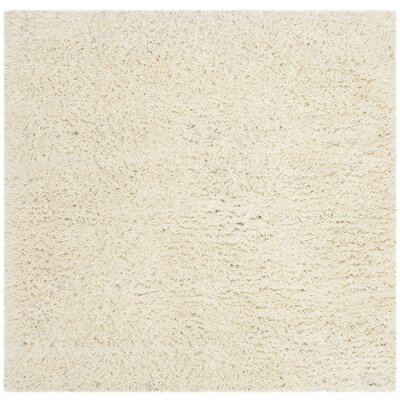 Shag White Area Rug Rug Size: Square 4'